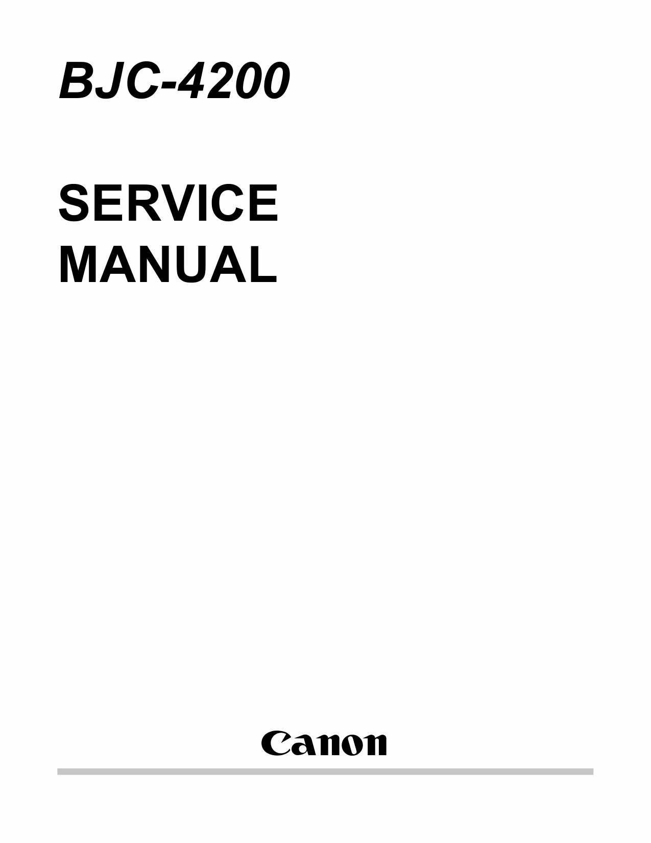 Canon BubbleJet BJC-4200 Service Manual-1